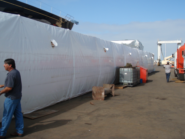 Heat shrink wrap on 110 foot mast for boat resized 600
