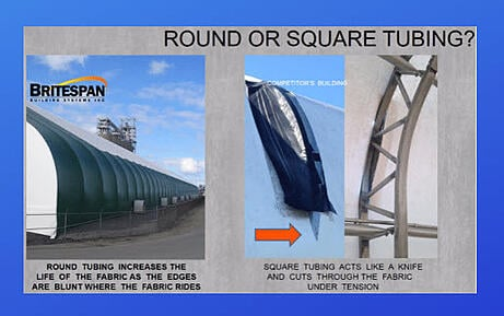 Round or square tubing for fabric building