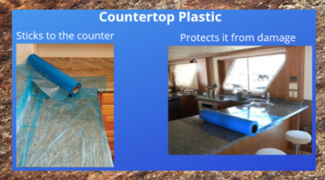Self adhesive counter top plastic