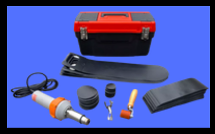 """Ultra- Berm Repair Kit-Kit includes: (1) Tool Box, (1) Heat Gun – 110 volt, (1) Hand Roller, (4) replacement handles, (50) each of the following: 2"""" round patches, 4"""" round patches, 4""""x12"""" patches."""