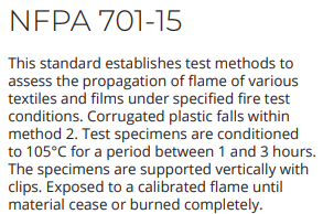 NFPA 701-15 Corrugated Plastic Boards/ sheets